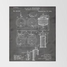 Brewery Patent - Beer Art - Black Chalkboard Throw Blanket