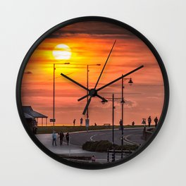 Sunset at Porthcawl Wall Clock