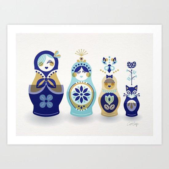 Russian Nesting Dolls – Blue & Gold Art Print