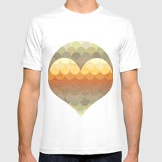 Half Circles Waves Color White Mens Fitted Tee MEDIUM