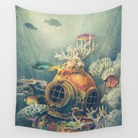 orange Wall Tapestries featuring Seachange by Terry Fan