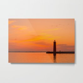Orange Sunset over Lake Michigan Muskegon Lighthouse Pier Metal Print