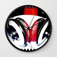 headphones Wall Clocks featuring Headphones by Derek Fleener