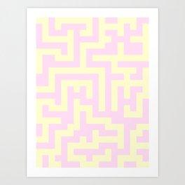 Cream Yellow and Pink Lace Labyrinth Art Print