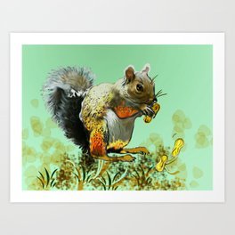 Nuts about squirrels Art Print