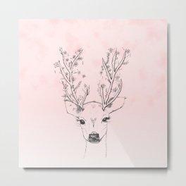 Cute handdrawn floral deer antlers pink watercolor Metal Print