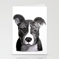 pit bull Stationery Cards featuring Pit Bull Dogs Lovers by Gooberella