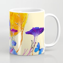 BLUE BUTTERFLIES MORNING GLORY  FULL MOON ART Coffee Mug