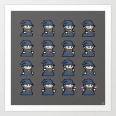 Pixel Wizard Dark Sprite Sheet 2016  Art Print