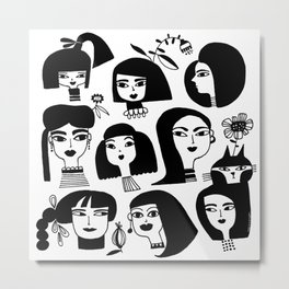 GIRLS AND ONE CAT Metal Print