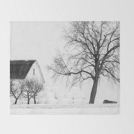 Winter on the Farm Throw Blanket