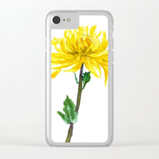 one yellow chrysanthemum Clear iPhone Case