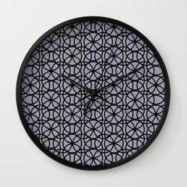 Pantone Lilac Gray and Black Rings Circle Heaven, Overlapping Ring Design Wall Clock