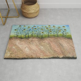 African American Masterpiece 'Sunflowers on the Graves' by Irene Clark Rug