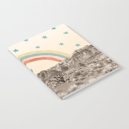 Canyon Desert Rainbow // Sierra Nevada Cactus Mountain Range Whimsical Painted Happy Stars Notebook