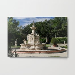 Garden Fountain Villa Vizcaya Metal Print