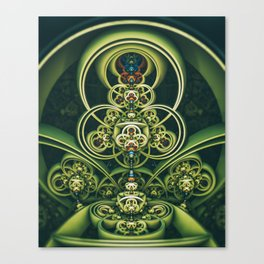 Time Shell IV. Green Abstract Geometry Canvas Print