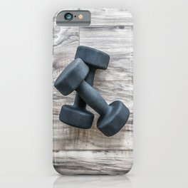 Gym fitness dumbbells weights exercise  background iPhone Case