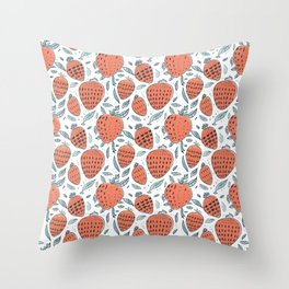 living coral strawberrys pattern Throw Pillow