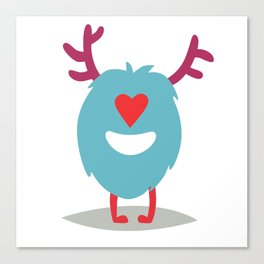 Emoji monster in love. Cute enamored cyclop vector illustration Canvas Print