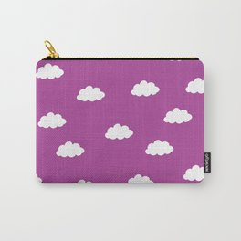 White clouds in purple pink background Carry-All Pouch