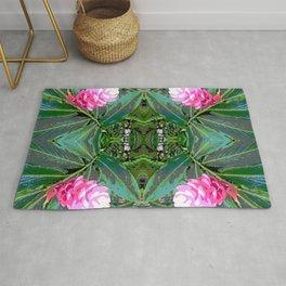 Kauai Flower Drawing Symmetry Graphic Print Rug