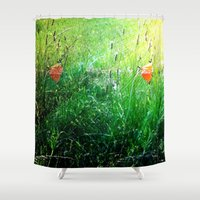 poppy Shower Curtains featuring Poppy by Rose Etiennette