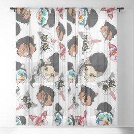 Pop Cats - Pattern on White Sheer Curtain