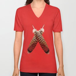 Redtail Hawk Feathers Unisex V-Neck