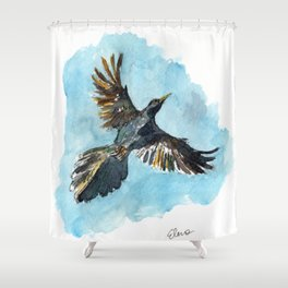 Flying Grackle Shower Curtain