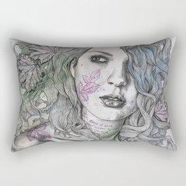Wake (street art woman with maple leaves tattoo) Rectangular Pillow