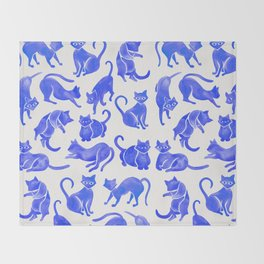Cat Positions – Blue Palette Throw Blanket