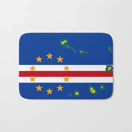 Cape Verde Flag with Map of the Cape Verde Islands Bath Mat