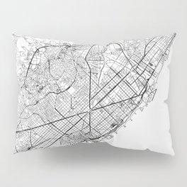 Barcelona White Map Pillow Sham