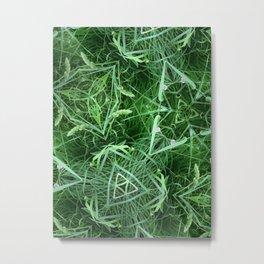 The Geometry of Green Metal Print