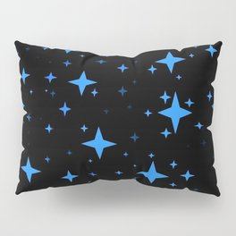 Bright Blue  Stars in Space Pillow Sham