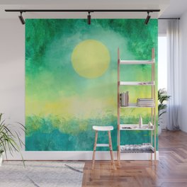 Yellow Moon, Emerald Sky, Blue Water Wall Mural