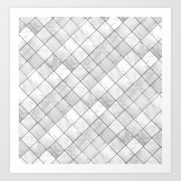 Faux Patchwork Quilting - White & Silver Pattern Art Print