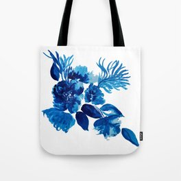 Blue watercolor flowers and stems Tote Bag