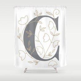 'C' Flower Illustration Shower Curtain