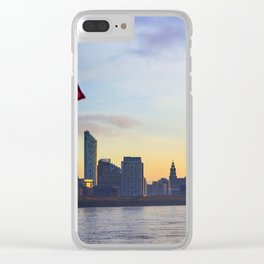 Liverpool Port from Mersey Ferry  Sunset Panorama United Kingdom Clear iPhone Case