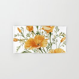 California Poppies - Watercolor Painting Hand & Bath Towel