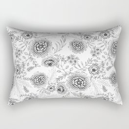 Black and white watercolor floral pattern with polka dots . Rectangular Pillow