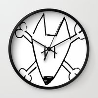 bull terrier Wall Clocks featuring Bull Terrier Skull by Chiaris