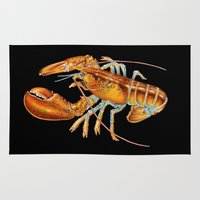 maine Area & Throw Rugs featuring Maine Lobster by Tim Jeffs Art