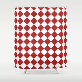Diamonds - White and Firebrick Red Shower Curtain