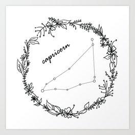 Floral Capricorn Constellation Art Print