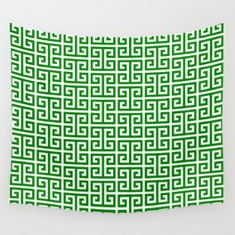 Green and White Greek Key Pattern Wall Tapestry