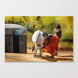 A painting of a maasai woman Milking and a Moran beside Canvas Print