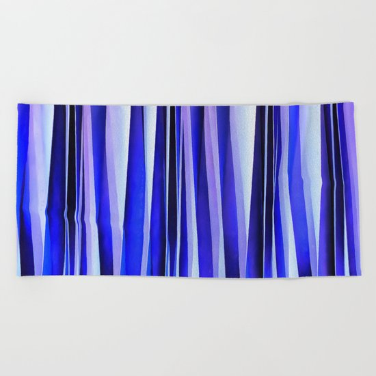 Peace and Harmony Blue Striped Abstract Pattern Beach Towel